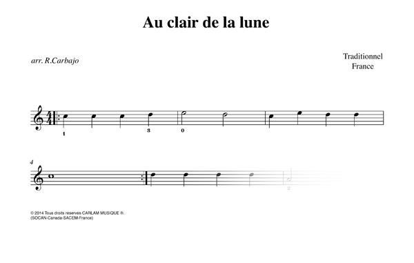 Au clair de la lune karaoke guitar score