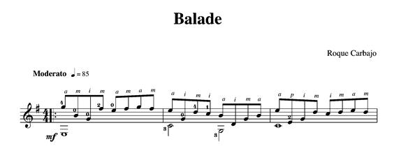 Balade solo guitar score