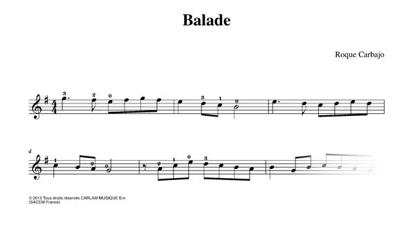 Balade karaoke guitarra partitura