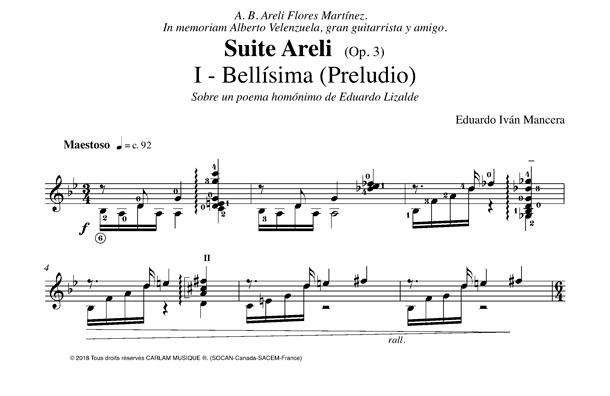 Bellisima suite areli guitar score