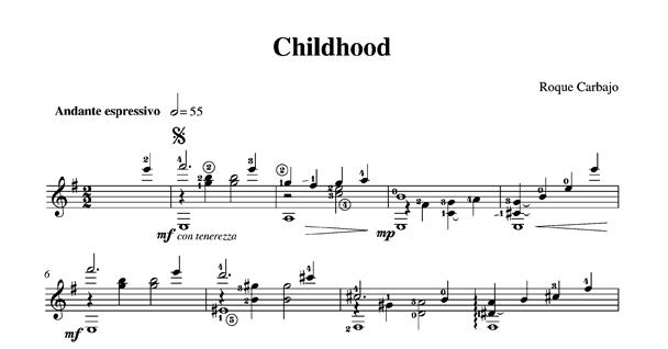 Childhood solo guitar score