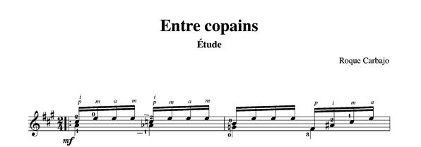 Entre copains solo guitar score