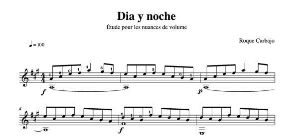 Dia y noche solo guitar score