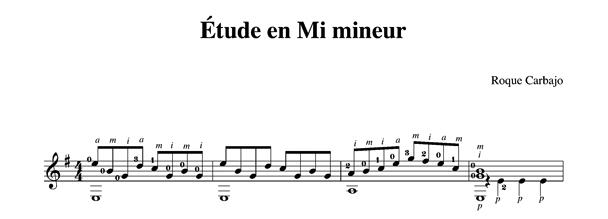 Étude en mi mineur solo guitar score