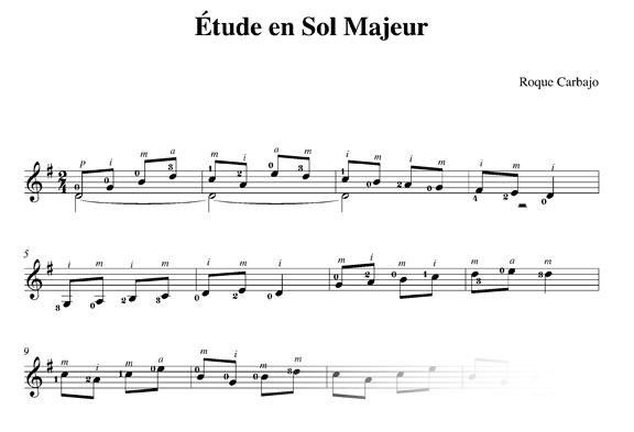 Étude en sol majeur guitarra sola partitura