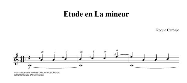 Étude 1 en La mineur karaoke guitar score