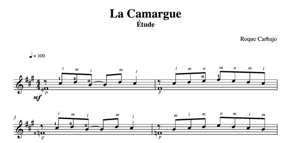 La Camargue solo guitar score