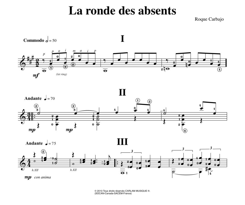La ronde des Absents solo guitar score