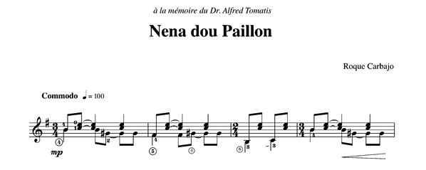 Nena dou Paillon solo guitar score