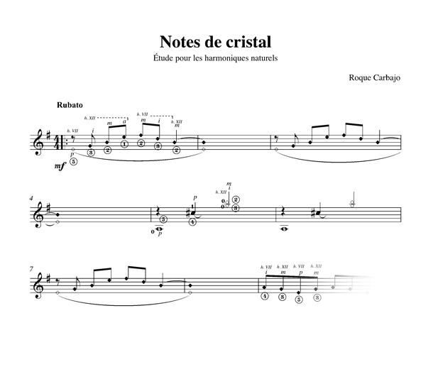 Notes de cristal solo guitar score