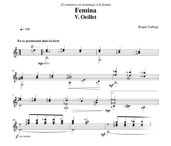 Oeillet solo guitar score