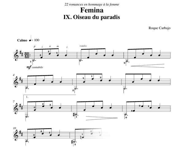 Oiseau du paradis solo guitar score