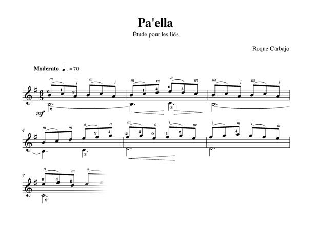 Pa'ella solo guitar score