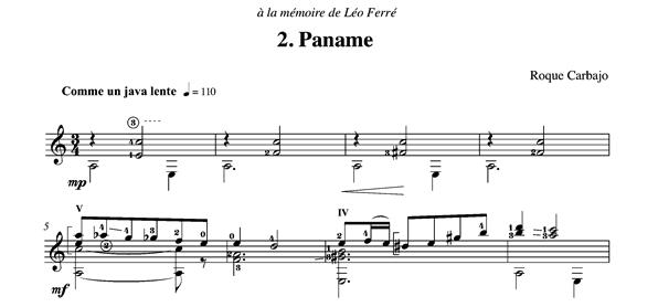 Paname solo guitar score