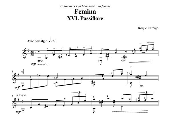 Passiflore solo guitar score