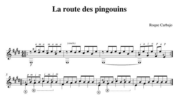 La route des pingouins solo guitar score