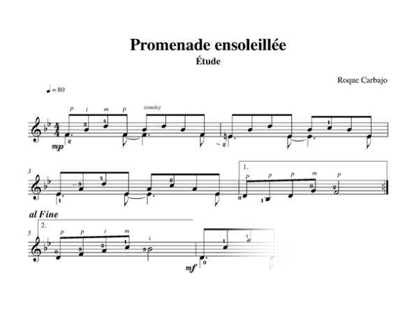Promenade ensoleillée solo guitar score