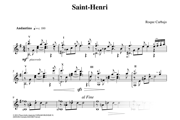 Saint-henri suite quebec solo guitar score