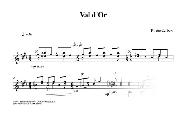 Val-d'Or guitarra sola partitura