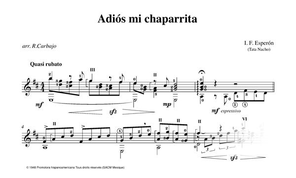 Adios mi chaparrita solo guitar score